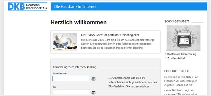 Screenshot der DKB-Anmeldung zum Internet-Banking.