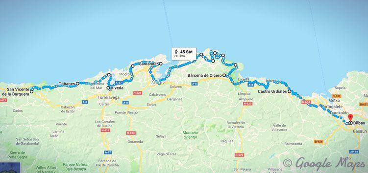 Meine Etappen auf dem Küstenweg in Spanien von San Vicente de la Barquera bis Bilbao.