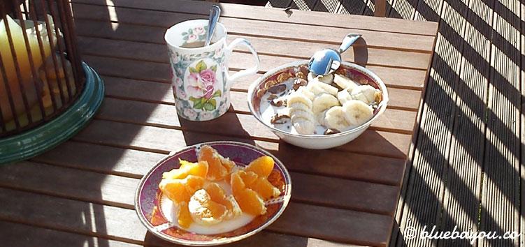 Frühstück in einer Pension in Neuseeland während der halben Weltreise.