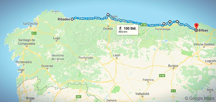 Ein Teil des Camino del Norte in Spanien: der Jakobsweg von Ribadeo bis Bilbao.