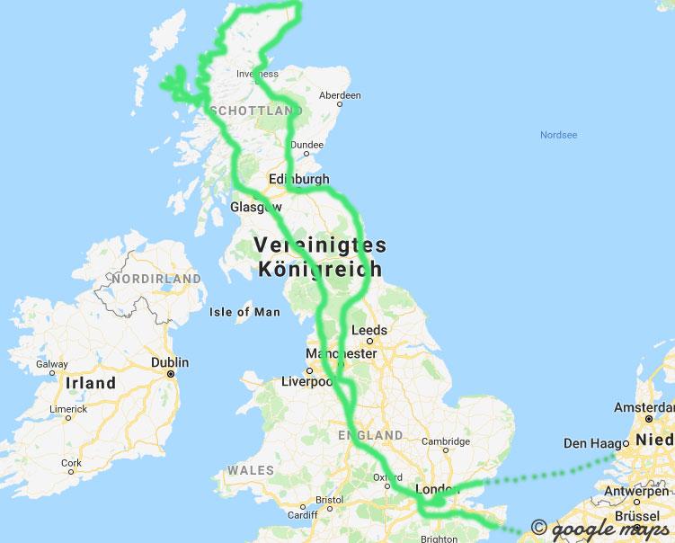 Meine Route des herbstlichen Roadtrips durch England und Schottland.