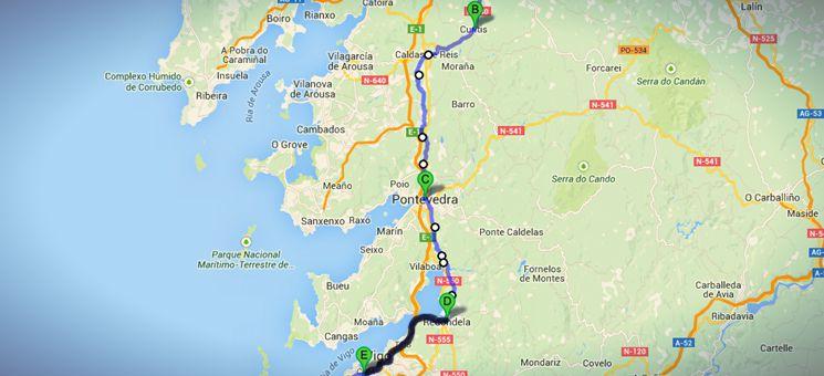 Die Strecke von Cuntis über Pontevedra nach Coia auf meinem nicht-traditionellen Jakobsweges in Spanien.