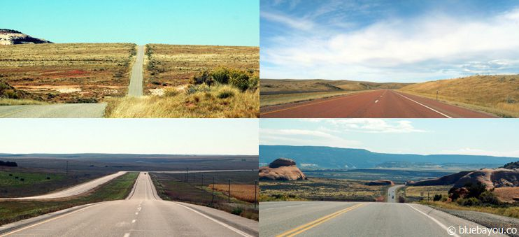 Verschiedene Straßen in den USA, die ein Gefühl von Freiheit vermitteln.