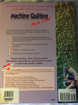 Machine Quilting Made Easy Book - back cover