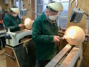 Making bowls in our woodturning courses