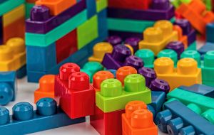 A bunch of toy bricks in different colors.