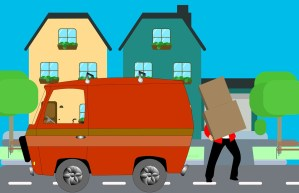 cartoon mover loading boxes onto moving truck