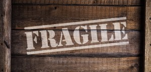 A box with the word 'fragile' written on it used for long distance moving