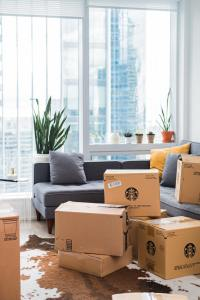 cardboard boxes in an apartment