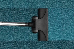 A vacuum on a rug