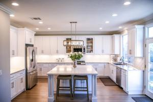 empty kitchen with white cabinets
