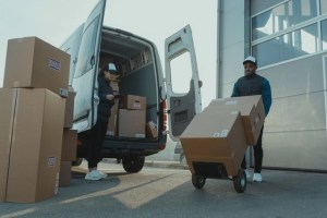Movers unloading the moving truck