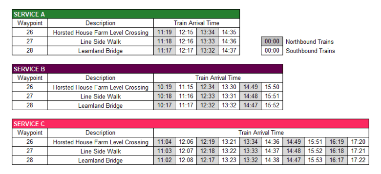 Ardingly Timetable