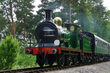 South Eastern & Chatham Railway C-class No.592 at Birch Farm foot crossing