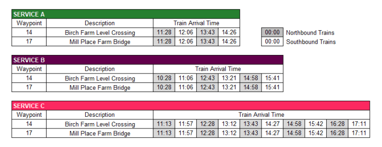 Standen Timetable