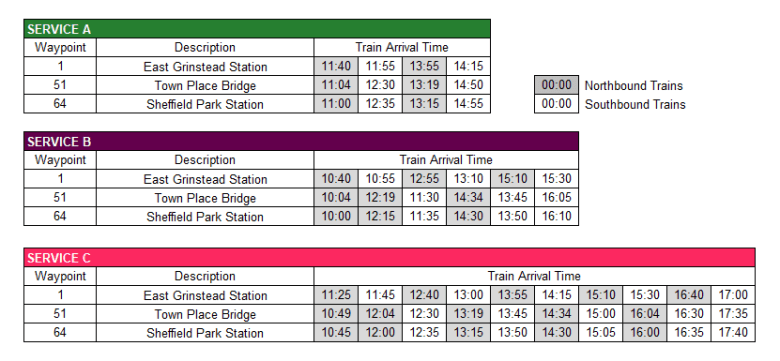 The Bluebell Way Timetable