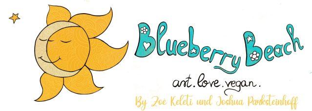 blueberry beach art love vegan