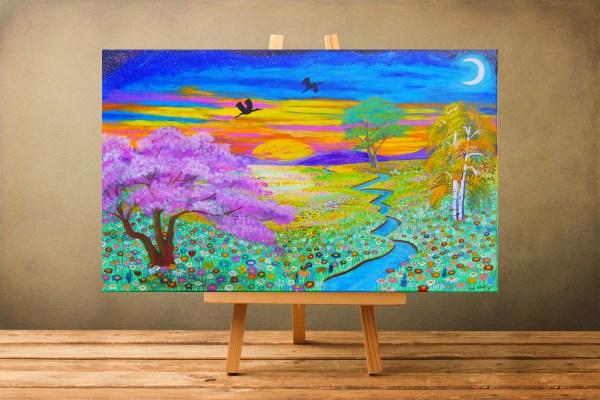 Kunstdruck auf Leinwand Paradies in dir Kirschbaum Malerei