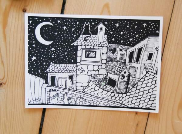 Schwarz weiss kunst postkarte