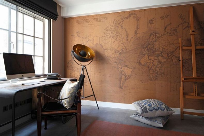 Beautiful-home-office-design-with-a-world-map-backdrop