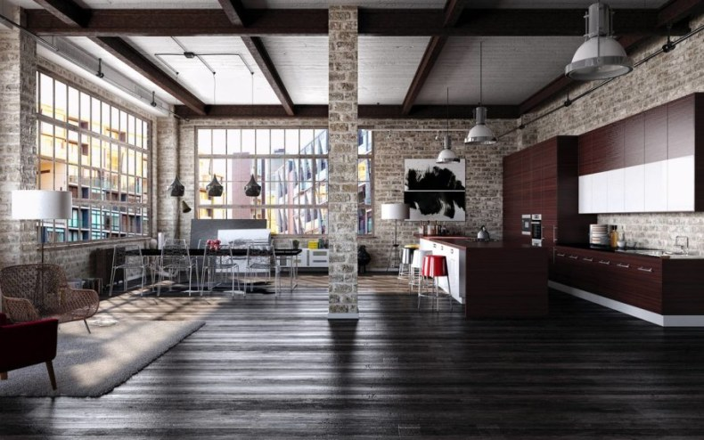 Modern-interior-in-loft-style-kitchen-and-dining-room-909x568
