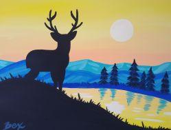 deer and lake
