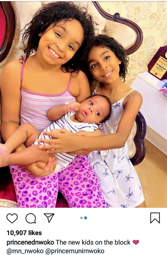 Photos : Prince Ned Nwoko SHOWS OFF HIS YOUNGEST CHILDREN.