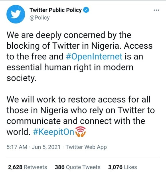 We Are Working To Restore Access To Nigeria - Twitter
