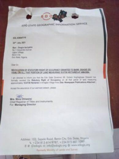 Land Property of Ize iyamu revoked
