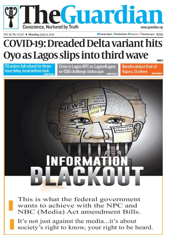 Nigerian Newspapers Put Out Front Page Headline in Protest Against Proposed Controversial Press and Media Bills.
