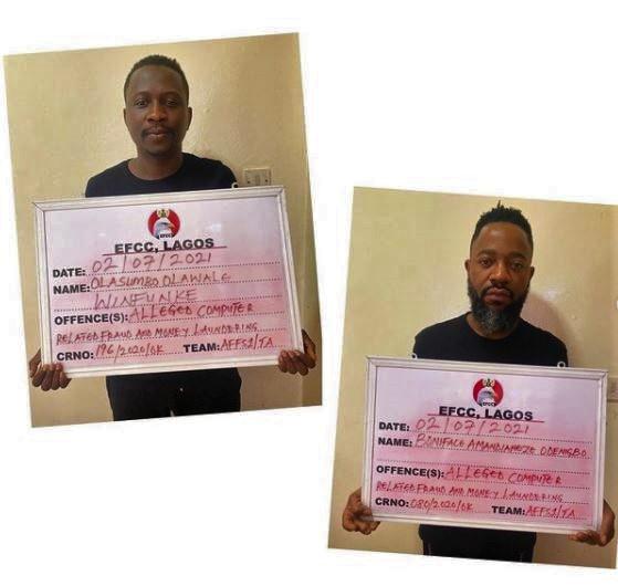 Buzzbar : Celebrity Businessmen Olasumbo Olawale Winfunke and Boniface Odenigbo Amandianeze Arrested for Alleged Internet Fraud.