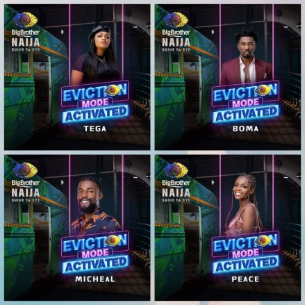 BBNaija Sunday King-size Eviction : Tega, Boma, Michael and Peace Evicted.