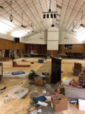 Sheetrock was pulled from the bottom portion of Hi-Way Tabernacle Church after Hurricane Harvey rains flooded the church.