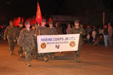 Cadets in the Dayton High School Marine JROTC march in the Country Christmas parade on Nov. 27 in Liberty.