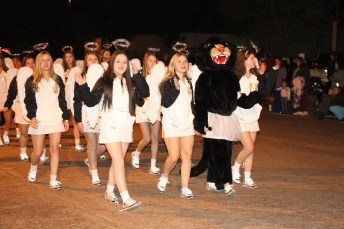 No parade is complete without Liberty High School's cheerleaders and mascot.