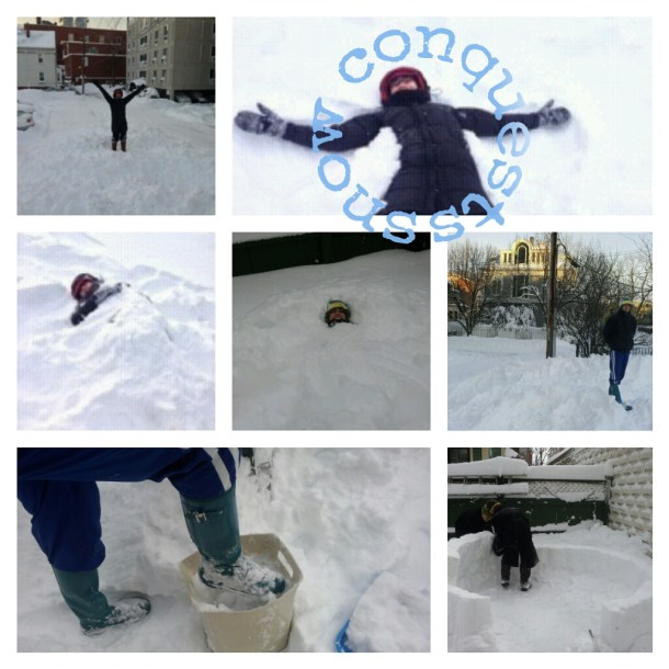 We climbed on top of the snow banks that were as tall as the first story of the apartment building next door. BlueBoots helped build an igloo in a friend's backyard. We pretended the snow was sand on a beach and buried each other. And, of course, we made snow angels too!