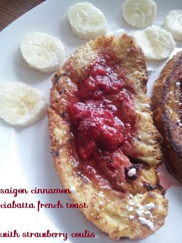 bananas on strawberry ciabatta french toast