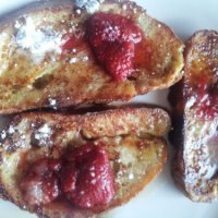 Saigon Cinnamon Ciabatta French Toast with Strawberry Coulis-  A Cheery Monday Breakfast