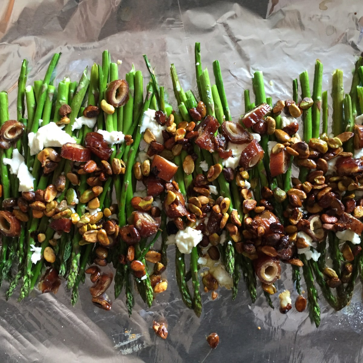 Honey Roasted Pistachios over Asparagus with Goat Cheese and Dates
