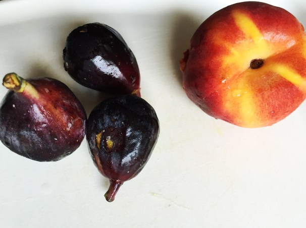 picnic fruits - figs and peaches