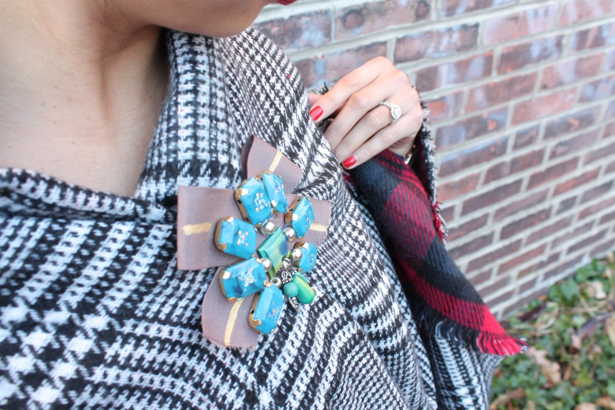 Versatile, Chic, & Cozy - my favorite blanket scarf @ilymix + the perfect brooch to go with it!