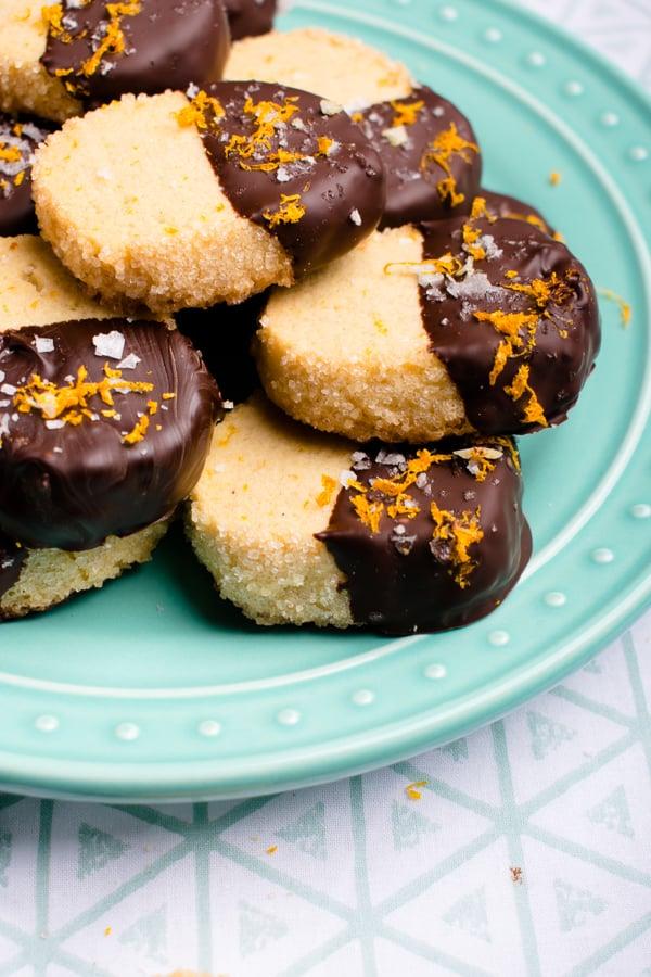 salted dark chocolate orange shortbread cookies