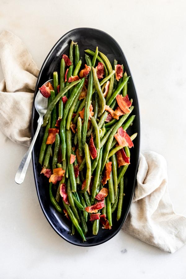 Bacon Green Beans Blue Bowl