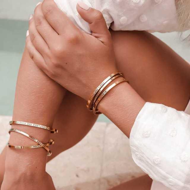 Armband med budskap - Cuff, Guld Image