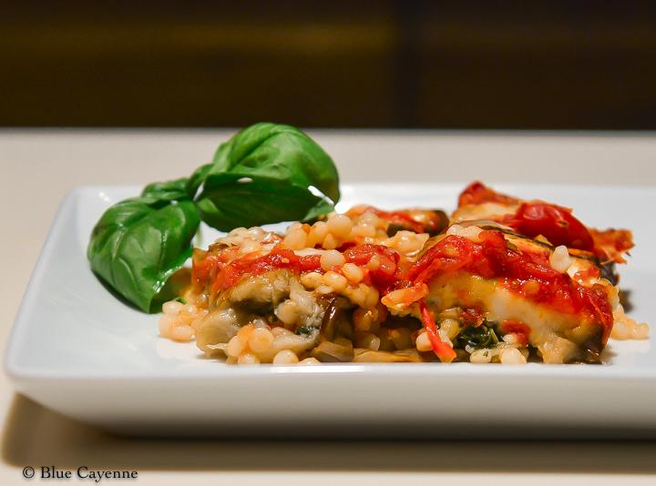 Israeli Couscous, Eggplant and Tomato Gratin