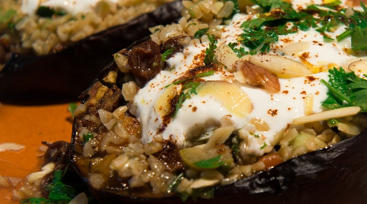 Of Eggplants, Falcons and Mt. Fuji: Chermoula Eggplant with Bulgur and Yogurt
