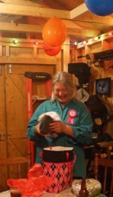 Fran's 59th celebrated on darts night in da shed