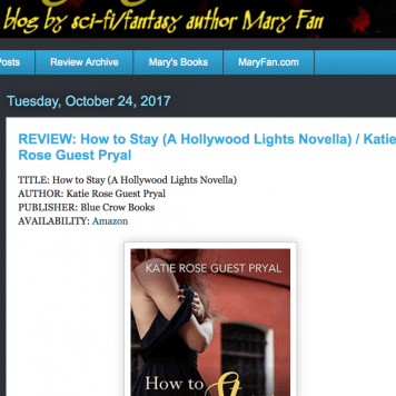 Oct. 2017: Review of Pryal's HOW TO STAY by author Mary Fan