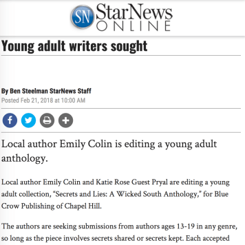 Feb. 2018: BCP new YA Anthology featured in Wilmington STAR NEWS