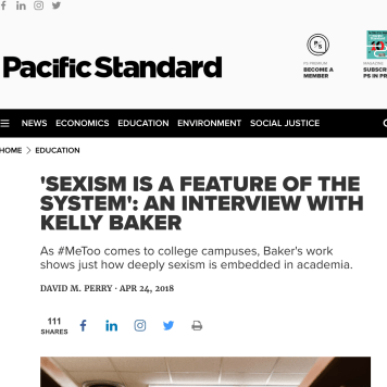 April 2018: Baker's SEXISM ED featured in PACIFIC STANDARD with interview